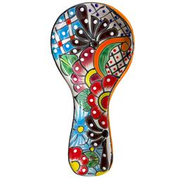 Colorful Kitchen Ceramic Spoon Rest - Hand Painted - Mexican