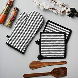 Cotton Oven Mitten and Pot Holders, 3 Piece Set, Black & Whi