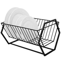 Countertop Black Metal Dish Drying Rack, Hexagonal-Design 14