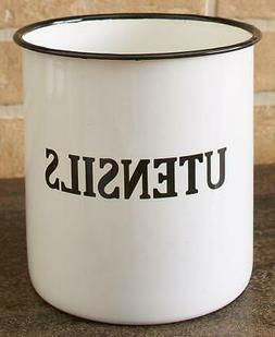 COUNTRY INSPIRED ENAMELWARE KITCHEN UTENSIL HOLDER DECORATIV