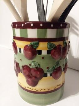 COUNTRY POLKA DOT RED APPLE THEMED KITCHEN 6-PC UTENSIL HOLD