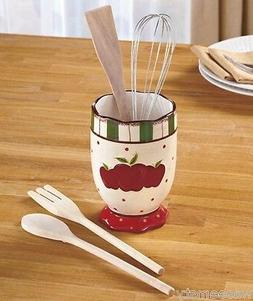 Country Red Apple Themed Dot Kitchen 5-Pc. Utensil Crock Hol