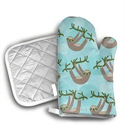 TRENDCAT Cute Sloth Wallpaper Oven Mitts and Potholders  - E