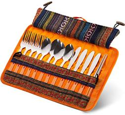 Cutlery Travel Kit 13 Piece + Storage Pouch with Handle for