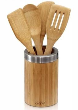 FURINNO 5 Piece Dapur Bamboo Cooking Utensil Set with Holder