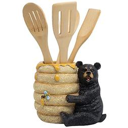 Decorative Black Bear in a Beehive Honey Pot Countertop Uten