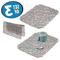 mDesign Decorative Kitchen Sink Protector Mat Pad Set, Quick