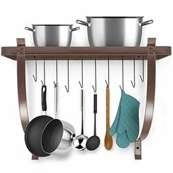 Sorbus Decorative Wall Mount Pot Rack with Hooks
