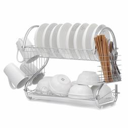 Dish Drying Rack 2 Tier Dish Rack with Utensil Holder Cup Ho