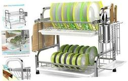 Dish Drying Rack,  304 Stainless Steel 2-Tier Dish Rack with
