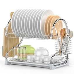 Dish Drying Rack, iSPECLE 2 Tier Dish Rack with Utensil Hold