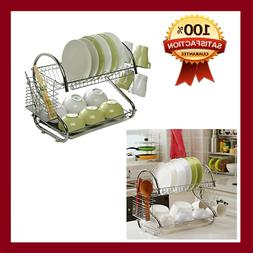 Dish Drying Rack Kitchen 2 Tier Large Bowls Draining Rack Ru
