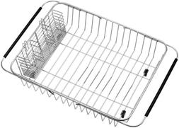 SANNO Dish Drying Rack with Stainless Steel Utensil Holder L