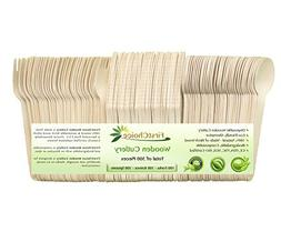 Disposable Wooden Cutlery Sets - 300 Piece Total: 100 Forks,
