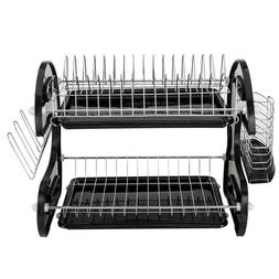 Dual Layers Dish Drying Rack Over Sink Space Saver Utensils