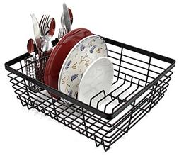 ESYLIFE Kitchen Dish Drainer Drying Rack with Full-Mesh Silv