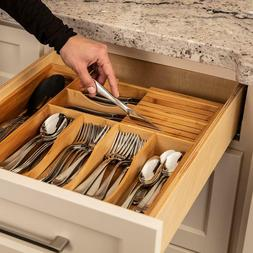 Misc Home Expandable Bamboo Kitchen Organizer with Knife Blo