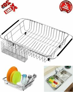 Expandable Dish Drying Rack Large Drainer Over In Sink Utens