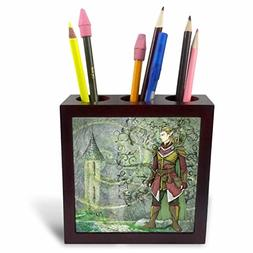 3dRose Fairies and Fantasy - Image of Male Warrior Elf Stand