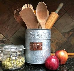 Autumn Alley Farmhouse Galvanized Large Kitchen Utensil Hold