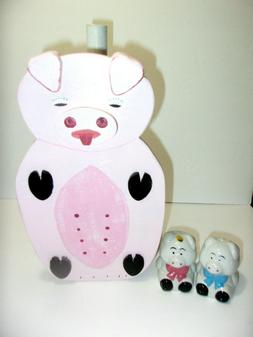 Farmhouse PInk Pig Wood Paper Towel Holder & Pig Salt & Pepp
