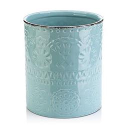 fine embossed ceramic crock utensil holder 7