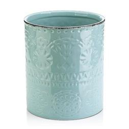 "LIFVER Fine Embossed Ceramic Crock Utensil Holder, 7.2"" x 6."