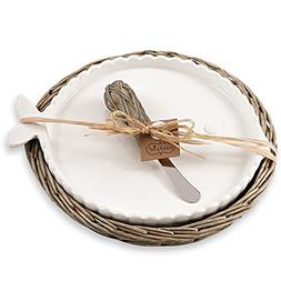 Fish Cheese Tray Set in Willow Holder