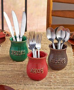 Set of 3 Flatware Crocks Utensil Holder Autumn Colored Spoon