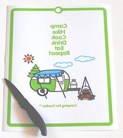 Camping For Foodies Flexible Cutting Mat with Retro RV Campe