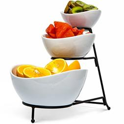 Food Serving Bowl Set: 3 Tier Metal Display Stand with 3 Whi