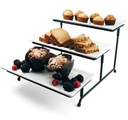 Food Serving Tray Set: 3 Tier Metal Display Stand with 3 Whi