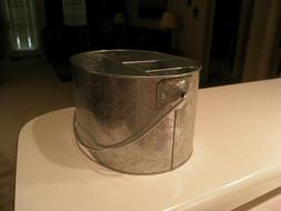 galvanized 4 compartment utensil holder with handle