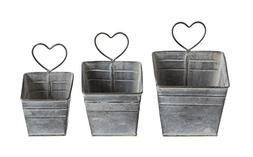 Creative Co-Op Galvanized Metal Pots with Hearts, Set of 3