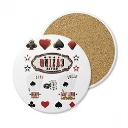 Gambling Utensils Pattern Playing Cards Ceramic Coaster Cup