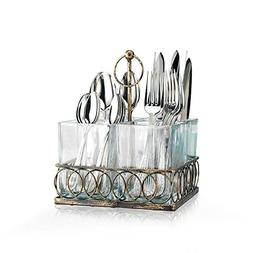 Glass Utensil Caddy - 4 Sectional on Metal Decorative Holder