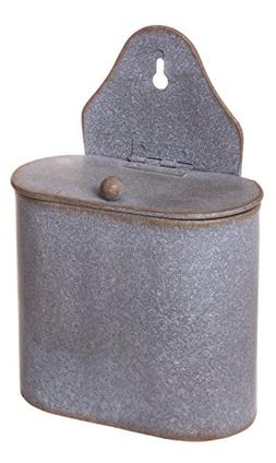 Small Hanging Tin Match Holder with Lid, 5-inch