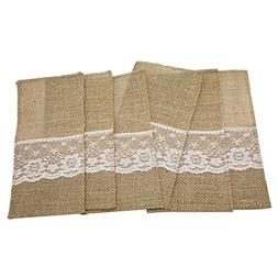 AmaJOY 50pcs 4x8 inch Natural Hessian Burlap Utensil Holders
