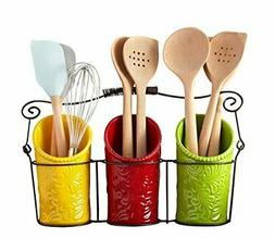 iEnjoyware Kitchen Utensil Holder Set  – 3 Ceramic Crocks