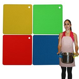 Silicone Pot Holders & Silicone Trivets Heat Resistant - Mul