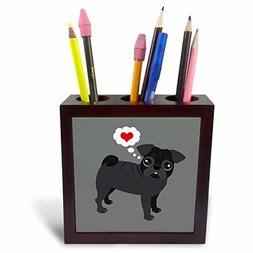 3dRose Black Pug Loves You Pen Holder