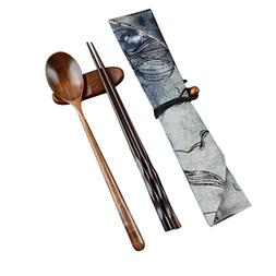 YJYdada Japanese Vintage Wooden Chopsticks Spoon Tableware 2