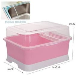Jars Boxes - Large Cupboard Plastic Drain Rack Dish With Lid