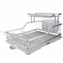 Kitchen Aluminum Frame Tier Dish Drying Counter Top Rack Wit