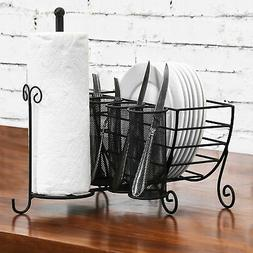 Kitchen Caddy Paper Towel and Silverware Utensil Holder, Dis