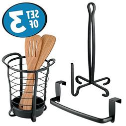 mDesign Kitchen Counter and Cabinet Accessory Set, Paper Tow
