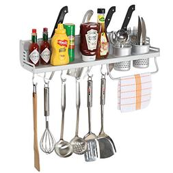 Kitchen Hanging Shelf w/ Towel Bar, 2 Utensil Holders, 6 Hoo