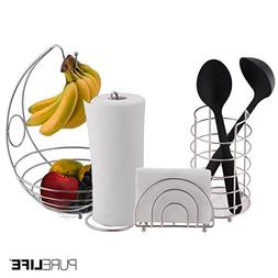 Kitchen Set 4pc | Fruit Basket/Banana Holder, Utensil Holder