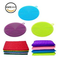 Kitchen Towels Silicone Sponge Brush Lingso Cleaning Wash Di