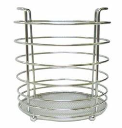 KITCHEN UTENSIL HOLDER CHROME FINISH COMPACT STORAGE FOR ALL